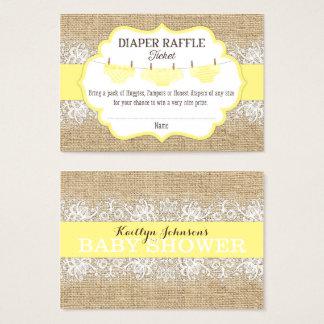 Rustic Burlap Lace Yellow Diaper Raffle Ticket