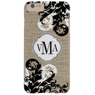 Rustic Burlap Look and Flourish Monogram Barely There iPhone 6 Plus Case