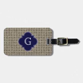 Rustic Burlap Look, Navy Blue Quatrefoil Monogram Luggage Tag