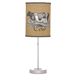 Rustic Burlap Look with Farmhouse Cow Table Lamp