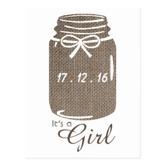 Rustic Burlap Mason Jar Baby Girl Announcement Postcard