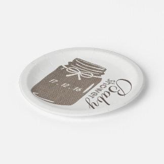 Rustic Burlap Mason Jar Baby Shower 7 Inch Paper Plate