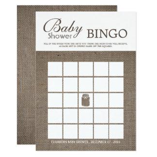 Rustic Burlap Mason Jar Baby Shower Bingo Card