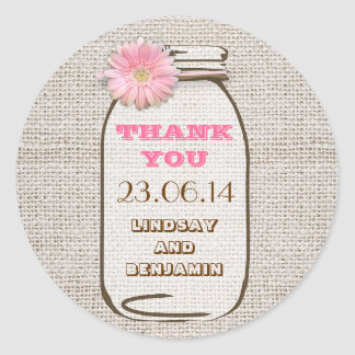 Rustic Burlap Mason Jar Pink Gerbera Wedding Round Sticker