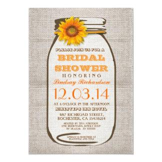 "Rustic Burlap Mason Jar Sunflower Bridal Shower 5"" X 7"" Invitation Card"