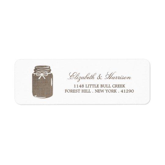 Rustic Burlap Mason Jar Wedding Return Address Label