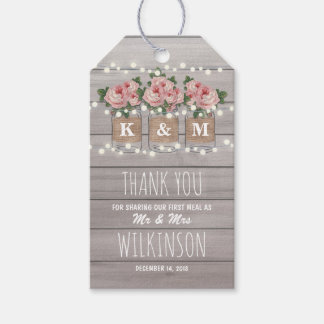Rustic Burlap Mason Jar Wedding | Roses Favor Gift Tags