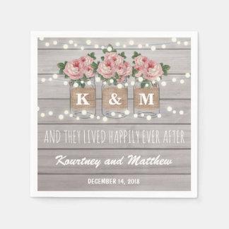 Rustic Burlap Mason Jar Wedding | Roses Napkin