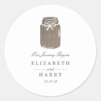 Rustic Burlap Mason Jar Wedding Round Sticker