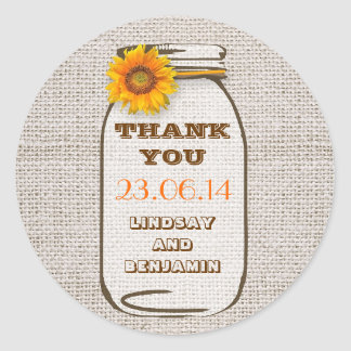 Rustic Burlap Mason Jar Wedding Sunflower Classic Round Sticker
