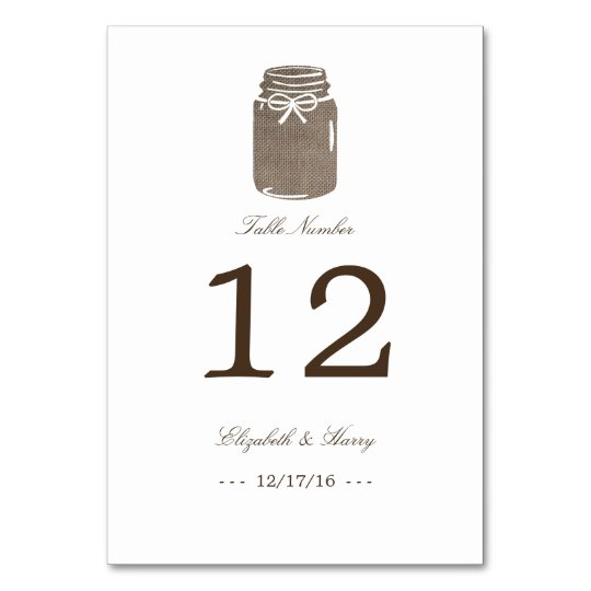 Rustic Burlap Mason Jar Wedding Table Number