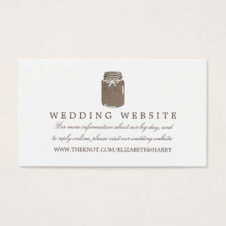Rustic Burlap Mason Jar Wedding Website Business Card