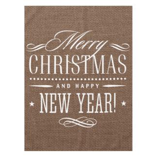 Rustic Burlap Merry Christmas Decor Tablecloth