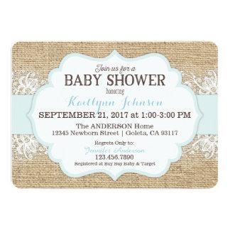 Rustic Burlap Modern Lace Blue Boy Baby Shower Card