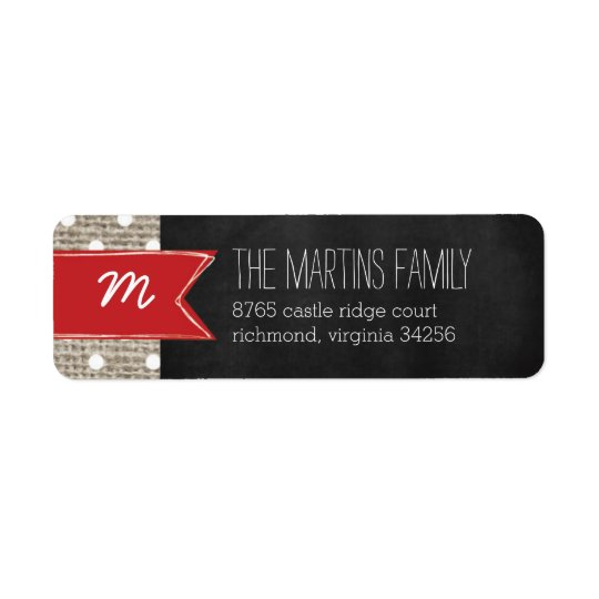 Rustic Burlap Monogram Address Label