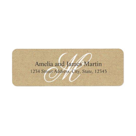 Rustic Burlap Monogram for Weddings Label