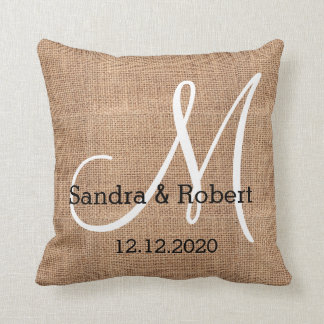 Rustic Burlap Monogram Wedding Keepsake Throw Pillow