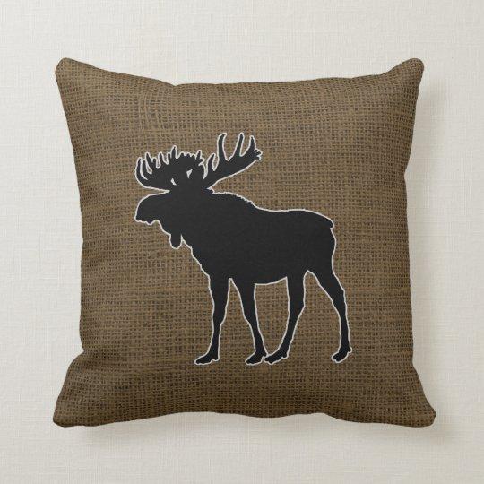 Rustic Burlap Moose Throw Pillow