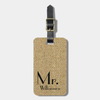 Rustic Burlap Mr Travel Luggage Tag Newly Weds