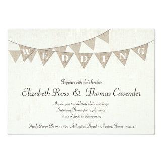 Rustic Burlap Pennant Wedding Invitation