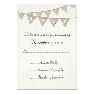 Rustic Burlap Pennant Wedding RSVP Card