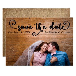 Rustic Burlap Photo - Save the date Card