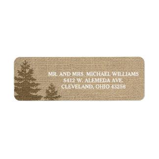 Rustic Burlap Pine Trees Winter Wedding Labels