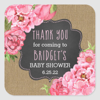 Rustic burlap pink peonies thank you favor sticker