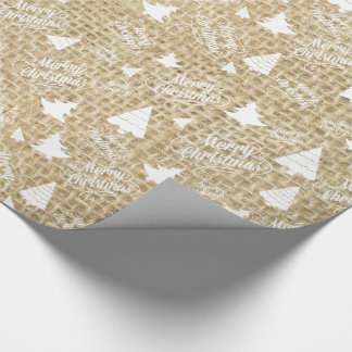 Rustic Burlap Print Merry Christmas Tree Gift Wrap