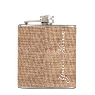 Rustic Burlap Print Personalized Hip Flask