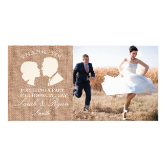 Rustic Burlap Print Wedding Photo Thank You Cards Picture Card
