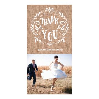 Rustic Burlap Print Wedding Thank You Photo Cards