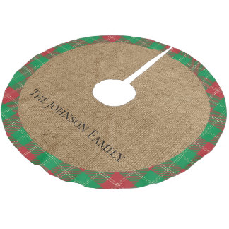 Rustic Burlap Red and Green Plaid Brushed Polyester Tree Skirt