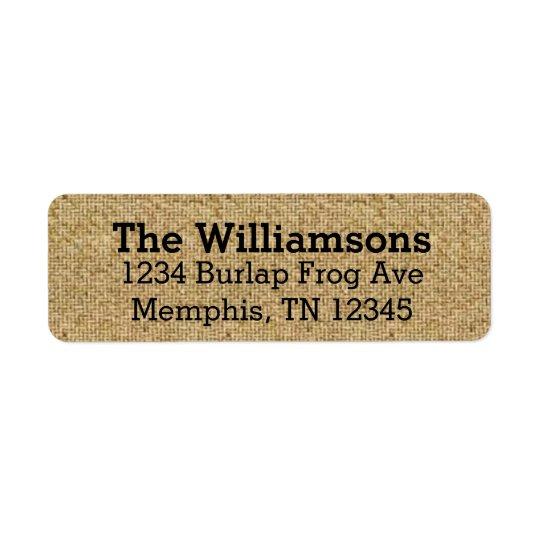 Rustic Burlap Return Address Labels