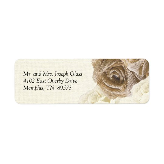 Rustic Burlap Rose Flowers Return Address Labels