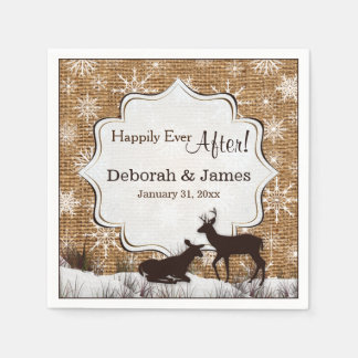 Rustic Burlap, Snowflakes and Deer Wedding Napkins Disposable Napkin