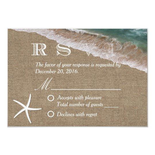 Rustic Burlap Starfish Beach Wedding RSVP Card