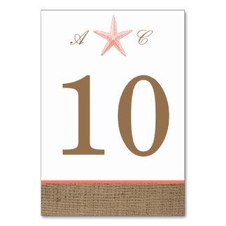 """Rustic Burlap Starfish Vertical 3.5""""x5"""" Table card"""