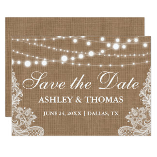 Rustic  Burlap String Lights Lace Save the Date Card