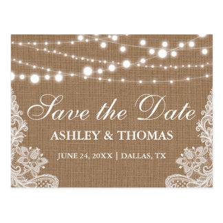 Rustic Burlap String Lights Lace Save the Date Postcard