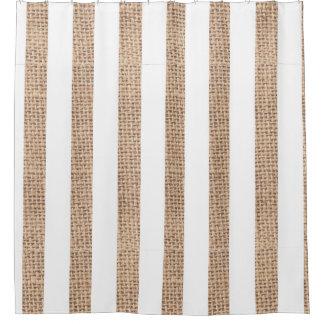 Rustic Burlap Stripes Farmhouse Shower Curtain