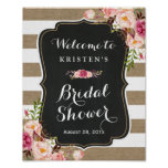 Rustic Burlap Stripes Floral Bridal Shower Sign
