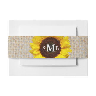 Rustic Burlap Sunflower Personalized Invitation Belly Band