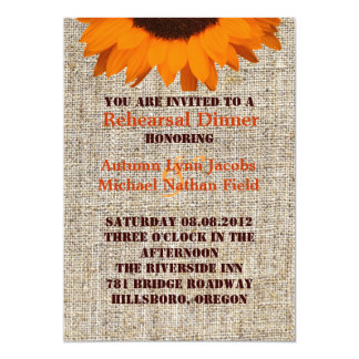 Rustic Burlap Sunflower Wedding rehearsal dinner Card