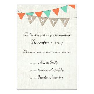 Rustic Burlap Teal Orange Pennant Wedding RSVP Card