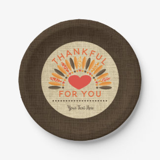 Rustic Burlap THANKFUL FOR YOU Personalized Paper Plate