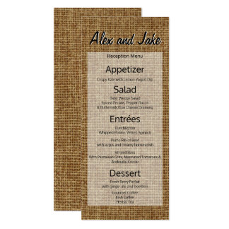 Rustic Burlap Vintage Country Wedding Menu Script Card