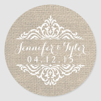 Rustic Burlap Vintage Damask Wedding Stickers