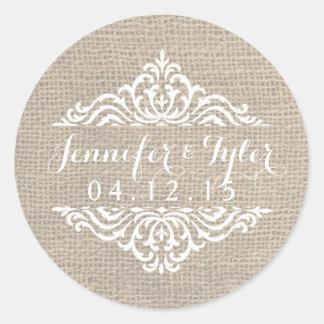 Rustic Burlap Vintage Damask Wedding Stickers