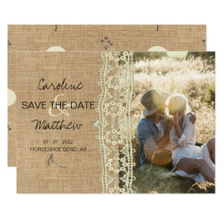 Rustic Burlap Vintage Lace Save The Date Wedding Card